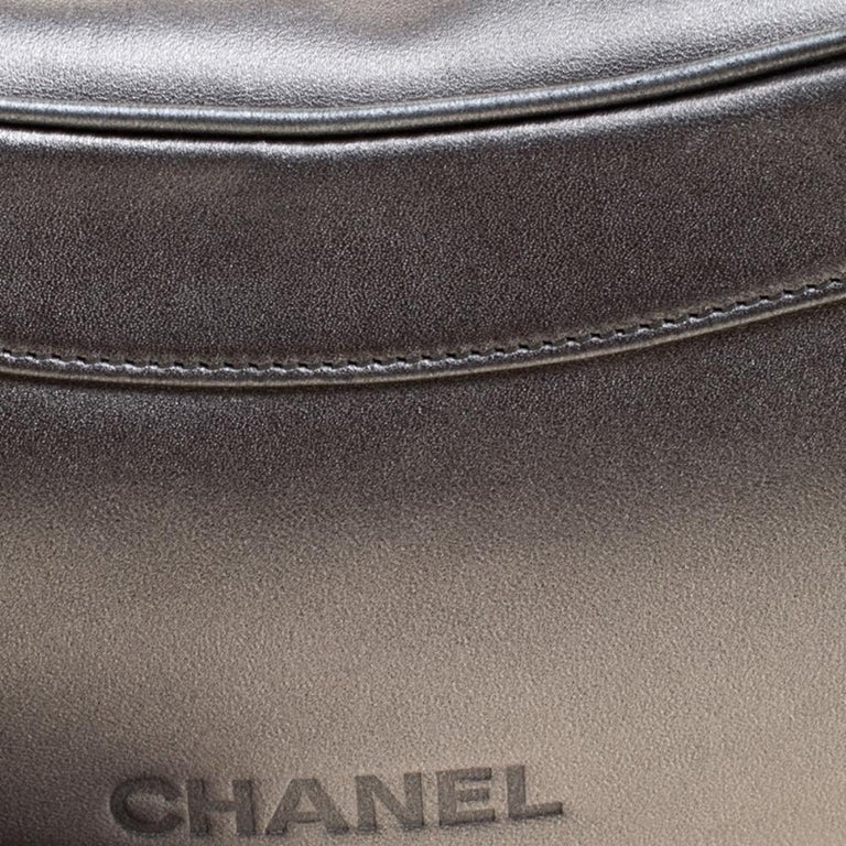 Chanel Metallic Grey Leather Tassel Evening Bag For Sale 2