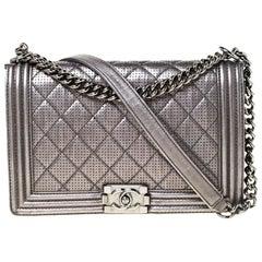 Chanel Metallic Grey Perforated Leather New Medium Boy Bag
