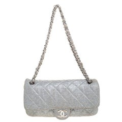 Chanel Metallic Grey Quilted Jersey Medium Flap Bag