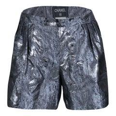Chanel Metallic Jacquard Pleat Detail Damask Shorts M