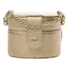 Chanel Metallic Lambskin Quilted around Vanity case with Chain