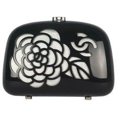 Chanel Metallic Leather And Acrylic Camellia Minaudiere Crossbody Bag