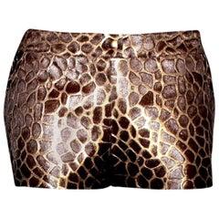 Chanel Metallic Leather and Fur Animal Print Safari Hot Pants Shorts