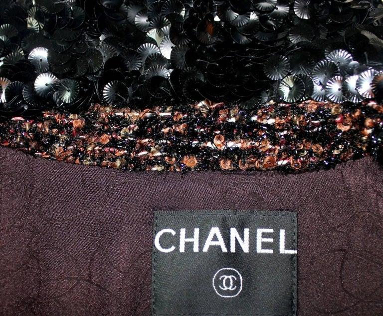 Chanel Metallic Lesage Fantasy Tweed Sequin Trimmed Coat  For Sale 6