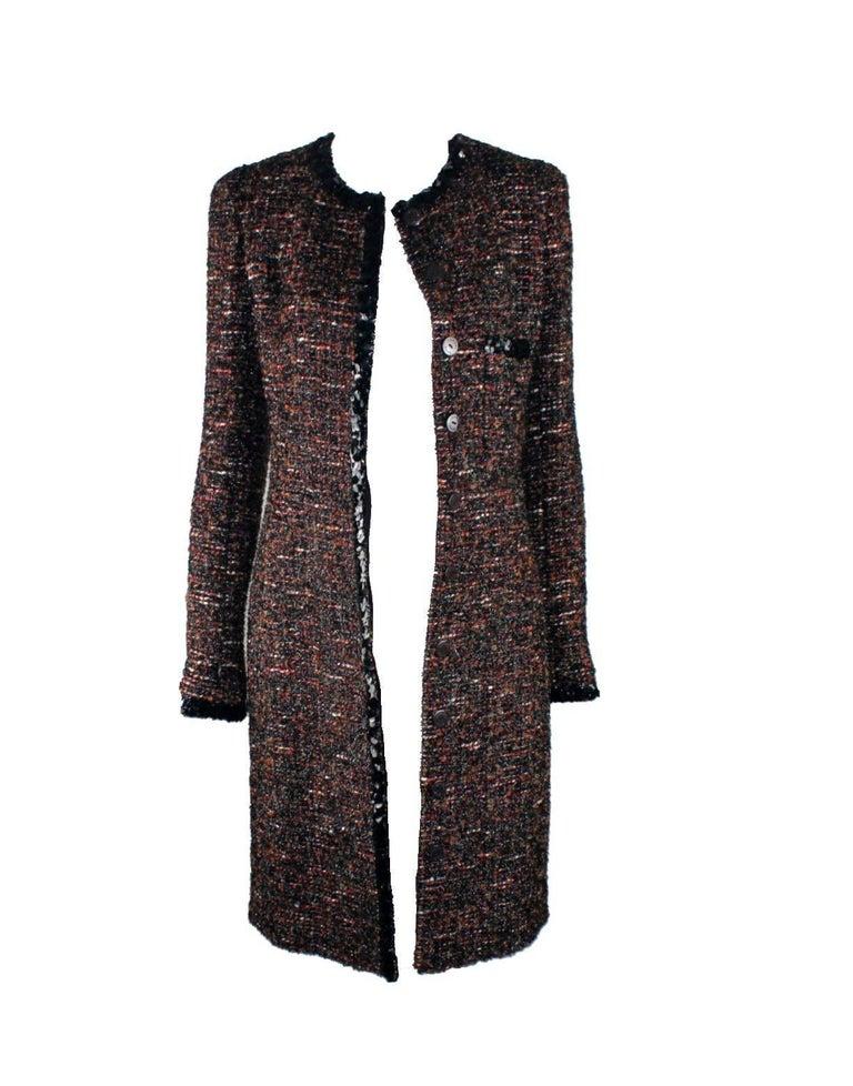 Chanel Metallic Lesage Fantasy Tweed Sequin Trimmed Coat  In Excellent Condition For Sale In Switzerland, CH