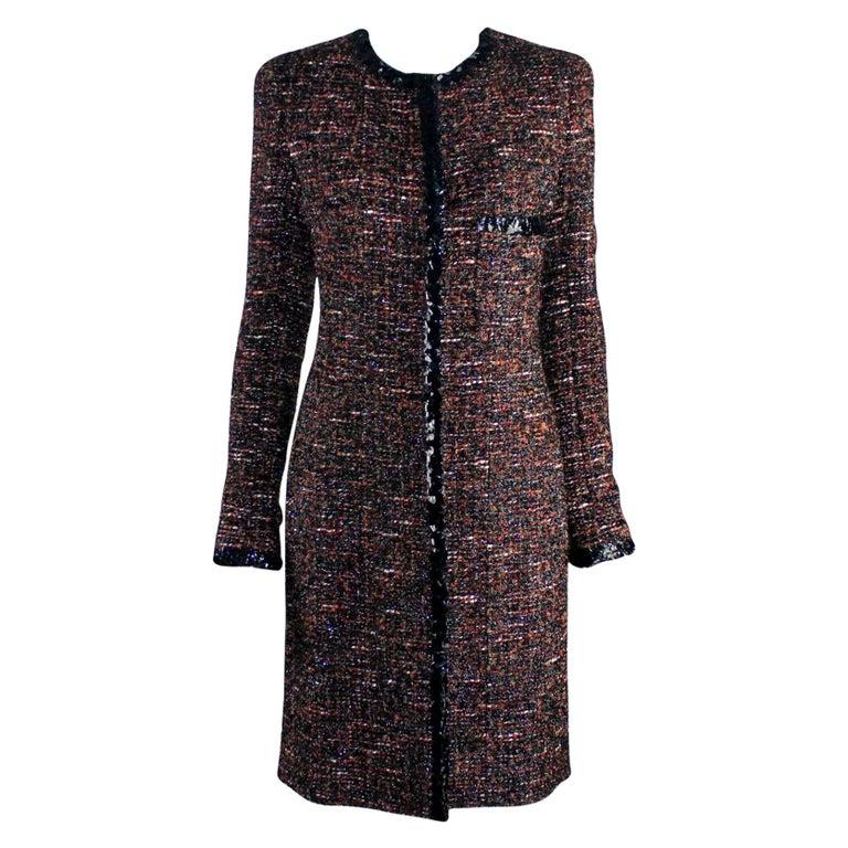 Chanel Metallic Lesage Fantasy Tweed Sequin Trimmed Coat  For Sale