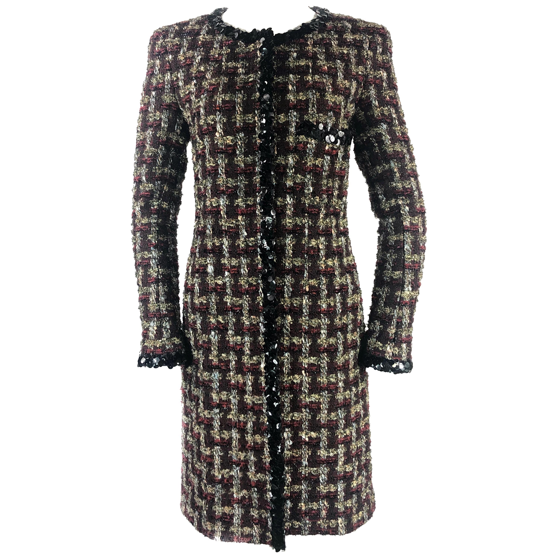Chanel Metallic Lesage Fantasy Tweed Trimmed Evening Coat w/ Sequin Size FR 40