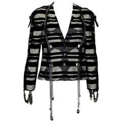 Chanel Metallic Lesage Tweed Jacket Blazer with detachable CC Logo Pearl Chains