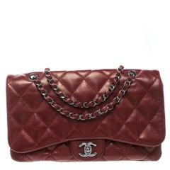 Chanel Metallic Maroon Leather Classic Flap Shoulder Bag