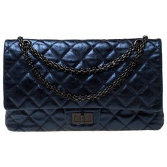 Chanel Metallic Midnight Blue Quilted Leather Reissue 2.55 Classic 227 Flap Bag