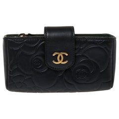 Chanel Metallic Navy Blue Camellia Embossed Leather Phone Pouch