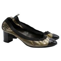 Chanel Metallic Patent Elastic Low Heel Pumps - Size 39