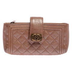 Chanel Metallic Peach Quilted Leather Boy Phone Pouch
