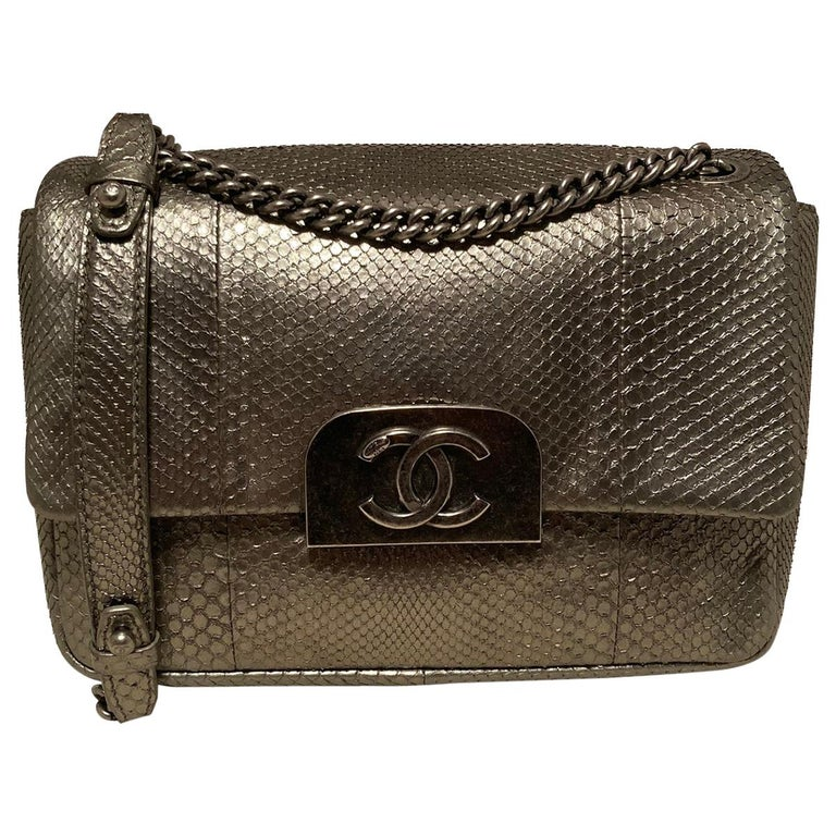 Chanel Grey Metallic Python Shanghai Flap Bag  For Sale