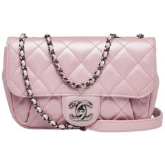 Chanel Metallic Pink Quitted Mini Crossbody Bag