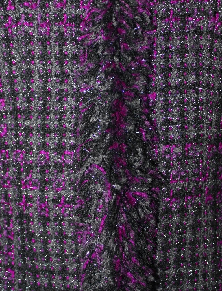 Chanel Metallic Purple Fantasy Tweed Maison Lesage Fringed Jacket In Excellent Condition For Sale In Switzerland, CH