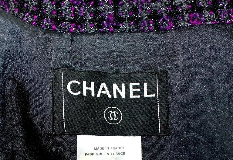 Chanel Metallic Purple Fantasy Tweed Maison Lesage Fringed Jacket For Sale 1