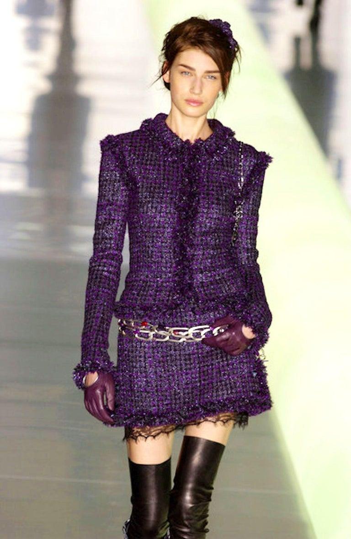 Chanel Metallic Purple Fantasy Tweed Maison Lesage Fringed Jacket For Sale 2