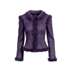 Chanel Metallic Purple Fantasy Tweed Maison Lesage Fringed Jacket