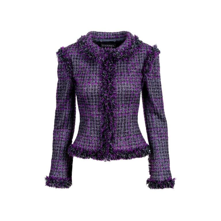 Chanel Metallic Purple Fantasy Tweed Maison Lesage Fringed Jacket For Sale