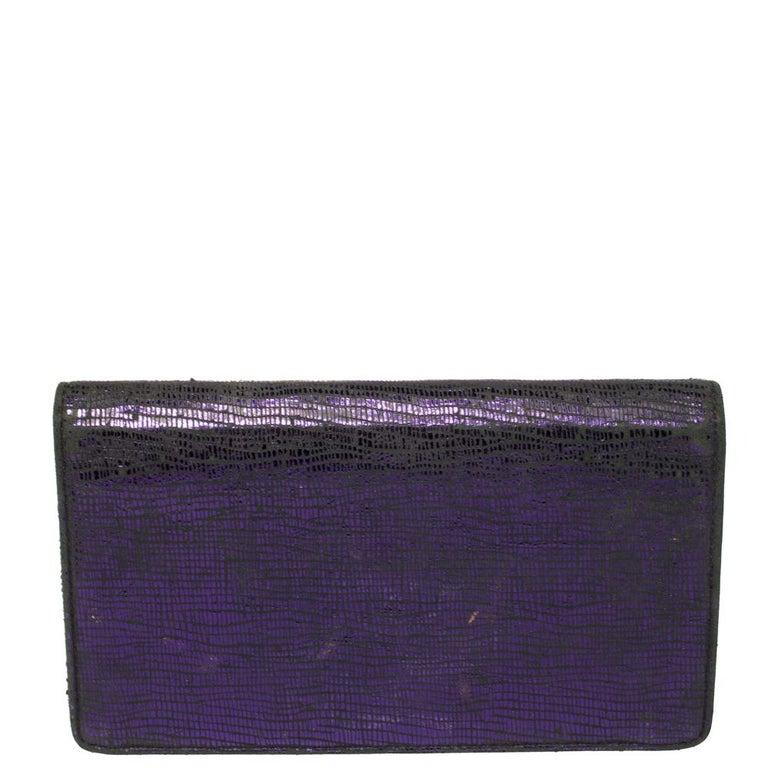 Black Chanel Metallic Purple Leather CC Bifold Wallet For Sale