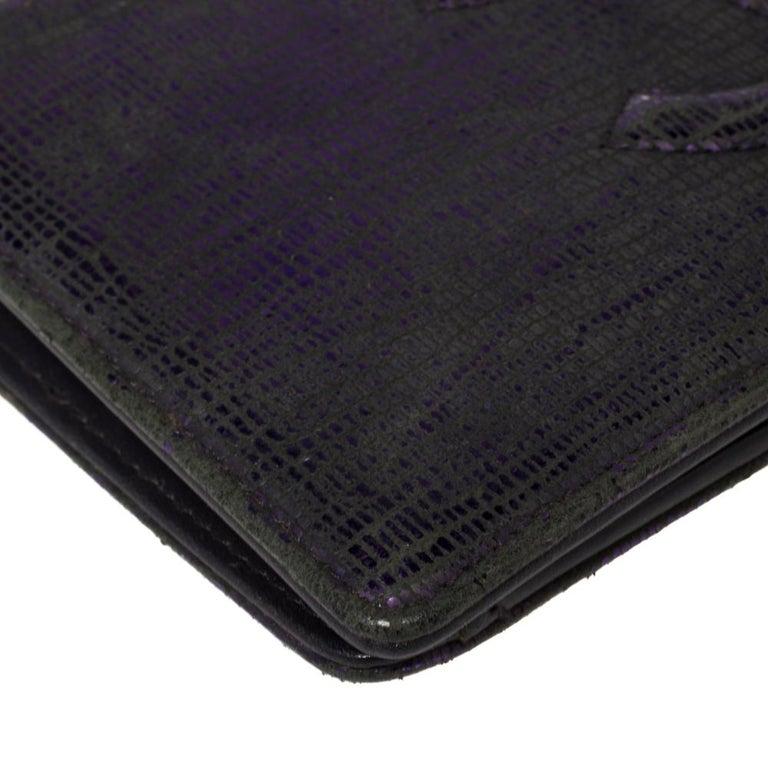 Chanel Metallic Purple Leather CC Bifold Wallet For Sale 1