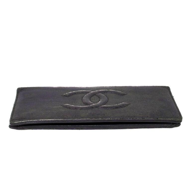 Chanel Metallic Purple Leather CC Bifold Wallet For Sale 2