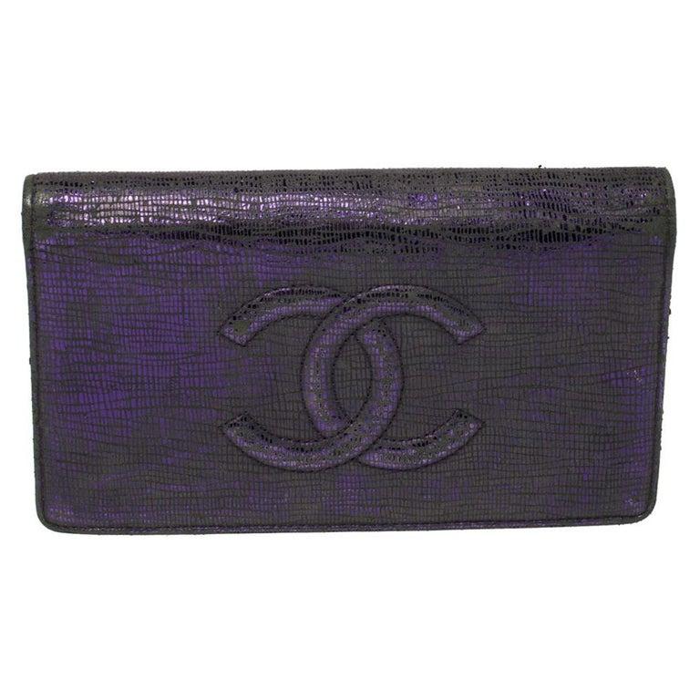 Chanel Metallic Purple Leather CC Bifold Wallet For Sale