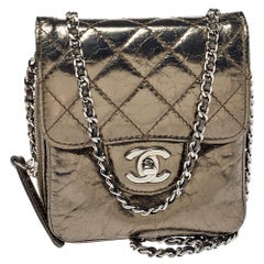 Chanel Metallic Quilted Aged Leather Clams Wallet on Chain