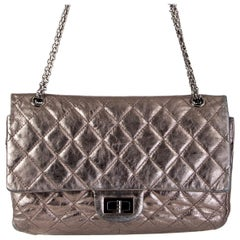 CHANEL metallic silver 2.55 REISSUE 227 FLAP Shoulder Bag