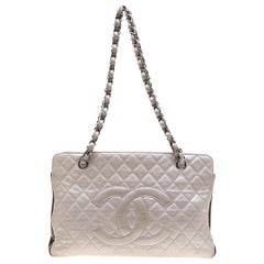 Chanel Metallic Silver/Brown Quilted Leather CC Logo Zip Shoulder Bag