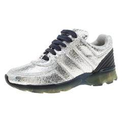 Chanel Metallic Silver Cracked Leather CC Sneakers Size 36