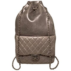 Chanel Metallic Silver Lambskin Leather Classic Backpack