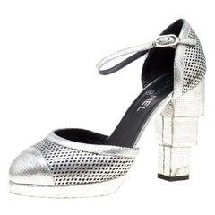 Chanel Metallic Silver Laser Cut Leather CC Platform Sandals Size 39.5