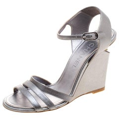 Chanel Metallic Silver Leather Ankle Strap Faux Pearl Wedge Sandals Size 36