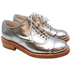 Chanel Metallic Silver Leather CC Brogues - Size 38