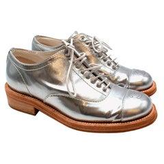 Chanel Metallic Silver Leather CC Brogues - Size  EU 38