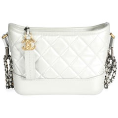 Chanel Metallic Silver Quilted Calfskin Small Gabrielle Hobo