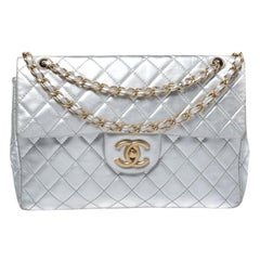 Chanel Metallic Silver Quilted Leather Maxi Classic Single Flap Bag