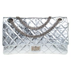 Chanel Metallic Silver Quilted Leather Reissue 2.55 Classic 228 Flap Bag