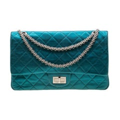 Chanel Metallic Turquoise Quilted  Jumbo 2.55 Reissue Classic 227 Flap Bag