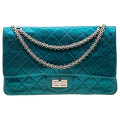 Chanel Metallic Turquoise Quilted Jumbo Reissue 2.55 Classic 227 Flap Bag