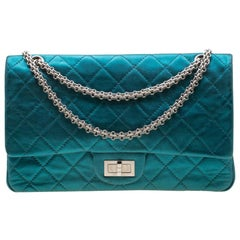 Chanel Metallic Turquoise Quilted Leather Jumbo 2.55 Reissue Classic 227 Flap Ba