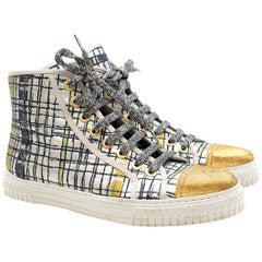 Chanel Metallic Tweed High-Top Sneakers 39