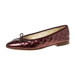 Chanel MetallicBrown Quilted Patent Leather CC Bow Cap Toe Ballet Flats Size39.5