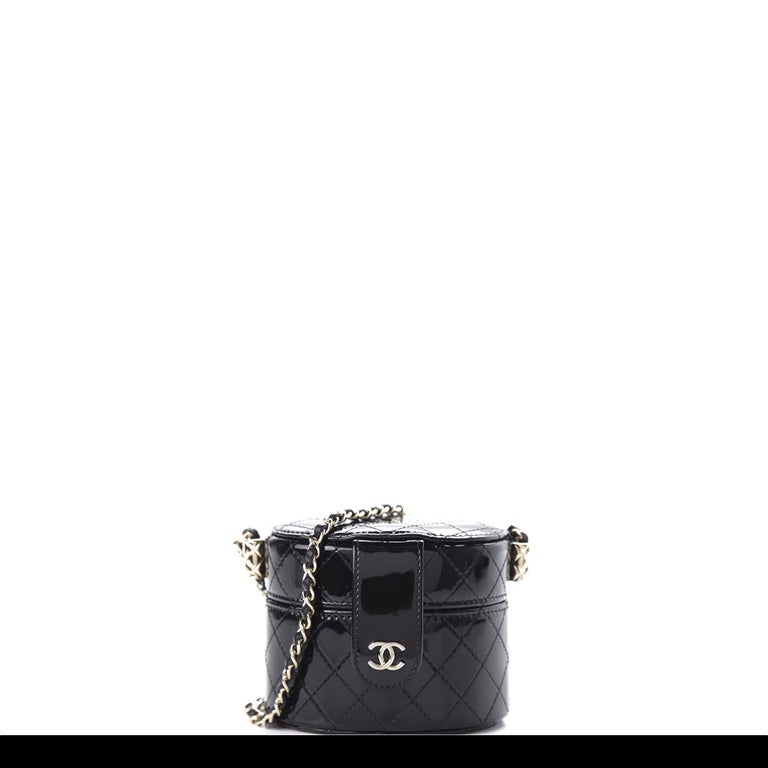 Chanel Micro Mini Black Quilted Patent Leather Jewelry Box Crossbody Bag For Sale 8