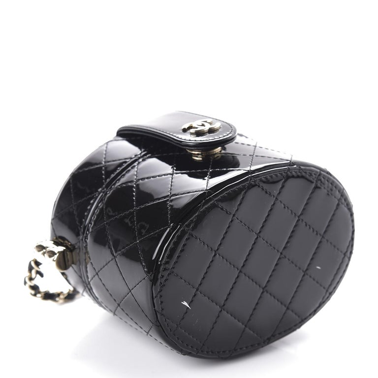 Women's or Men's Chanel Micro Mini Black Quilted Patent Leather Jewelry Box Crossbody Bag For Sale