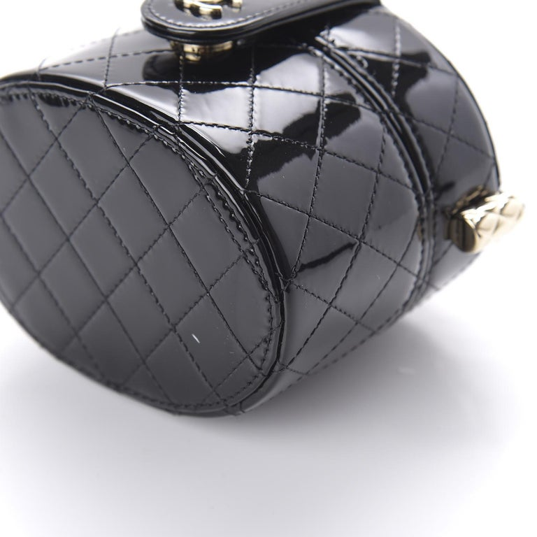 Chanel Micro Mini Black Quilted Patent Leather Jewelry Box Crossbody Bag For Sale 1