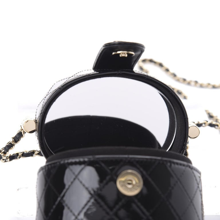 Chanel Micro Mini Black Quilted Patent Leather Jewelry Box Crossbody Bag For Sale 2