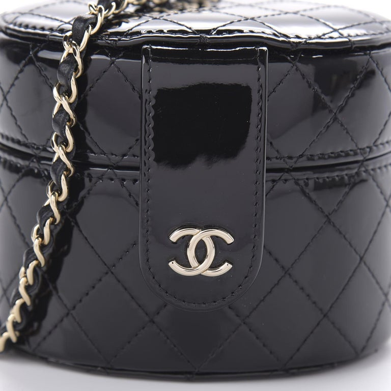 Chanel Micro Mini Black Quilted Patent Leather Jewelry Box Crossbody Bag For Sale 4